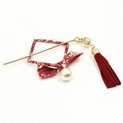 Ethnische Quadrat Bowknot Pearl Print Haar Sticks Elegante Haarnadeln Stirnband Haarschmuck für Frauen