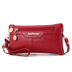 Women Faux Leather Crossbody Bags Solid Leisure Clutch Bags Multi-slot Phone Bags Wallet