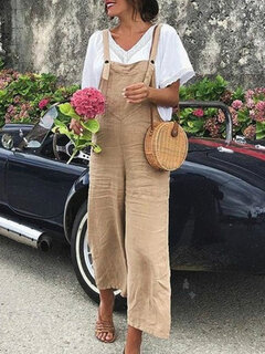 Wide Leg Solid Color Straps Casual Romper For Women