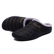 Men Waterproof Plush Lining Non-slip Soft Sole Casual Slippers