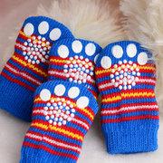 Calcetines antiarañazos del gato del perro del color al azar con el protector de la pata del refuerzo del caucho para el desgaste interior