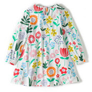 Comfy Printed Girls Long Sleeve Cotton Dresses For 1Y-13Y
