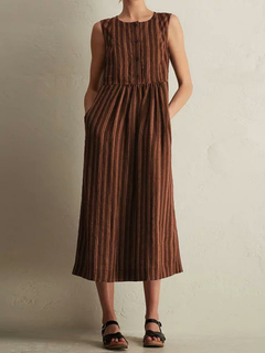 Pockets Stripe Sleeveless Vintage Mid-calf Dress per le donne