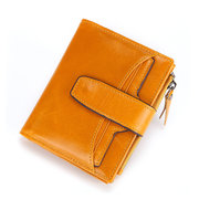 Men RFID Anti-theft Brush Genuine Leather 16 Card Slot Retro Short Wallet Casual Oil Wax Coin Bag
