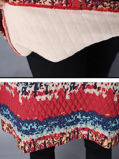 Ethnic Ink Printed Round Neck Lantern Sleeve A-Line Dress For Women