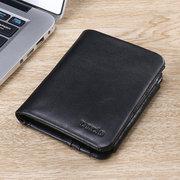 Portefeuille en cuir véritable Zipper Pocket 12 porte-cartes Trifold pour les hommes