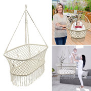 Baby Garden Hanging Hammock Cotton Woven Rope Swing Patio Chair Seat 90*87*57cm