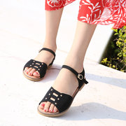 Button Buckle Hollow Flat Sandals