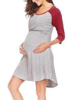 Soft Cotton Front Open Maternity Patchwork Nursing Dress