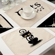 Schöne Katze Dining Mat Cartoon schwarze Katze Muster gedruckt Baumwolle und Leinen Mat