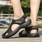 Men Hook Loop Outdoor Slip Resistant Leather Sandals
