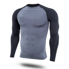 Mens Casual Contrast Color Printing Fitness Tight T-shirt Breathable Comfortable Sport T-shirt