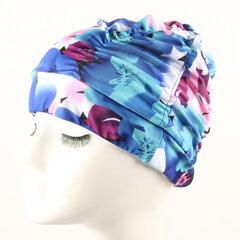 Mulheres Plus tamanho dobrável plissado pano touca de natação orelhas proteção pano touca de banho