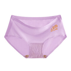 Plus Size Seamless Rose Silk Cotton Comfy Panties For Women