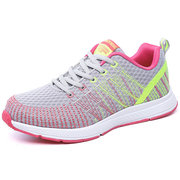 Breathable Sneakers Knitted Strech Fabric Lace Up Sport Shoes