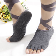 Women Ladies Toes Yoga Socks Ballet Sports Lace Non-Slip Exposed Instep Yoga Socks