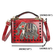 Women Solid Mini Shell Bags Vintage Elephant Embroidery Phone Bags Faux Leather Crossbody Bags