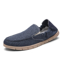 Men Linen Pure Color Breath Flat Casual Shoes Slip On Loafers