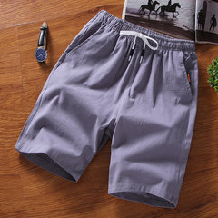 Exclusive For The Season New Men's Straight Tube Waist Cotton And Linen 5 Points Pants Large Size Casual Wild Trend Shorts Men