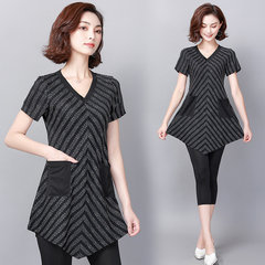 Large Size Foreign Gas Suit Female New Dress Fat Mm Meat Tibetan Short-sleeved Cropped Pants Sister Was Thin Two-piece