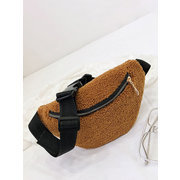 Women Plush Leopard Print Waist Bag Crossbody Bag