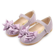 Girls Bling Upper Bowknot Hook Loop Princess Dress Flat Shoes