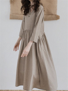 Vintage Long Sleeve Pleated Solid Color Shirt Dress