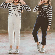 Cute Cat Embroidery Girls Striped T-Shirt + Pantalones de tirantes establece para 6Y-15Y