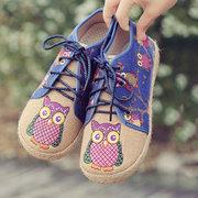 نمط البومة لطيف الملونة القماش الدانتيل يصل الأحذية
