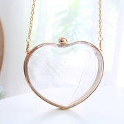 Women Clear Cuore Tipo Party Clutch Bags Chain Solid Summer Crossbody Bags