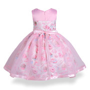 Flower Girl Printed Tulle Dresses Pageant Ball Gowns for Party Birthday Wedding Dress