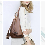 Women Soft Leather Triangle Lock Travel Backpack Designer Handbag