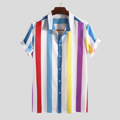 Mens Funny Contrast Color Striped Turn Down Collar Short Sleeve Loose Casual Shirts