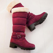 Large Size Women Buckle Fur Lined Long Boots