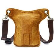 Ekphero Sac de taille en cuir véritable Première couche en cuir Casual Sac à bandoulière Vintage pour homme