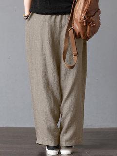 خمر لون خالص جيوب سروال واسع الساق