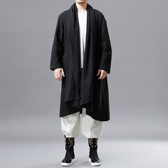 Men's National Linen Cardigans Coat Vintage Casual Shawl Collar Sweater Solid Color Jacket Cloak