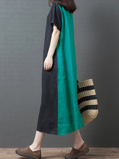 Casual Patchwork Crew Neck Short Sleeve Dress for Women