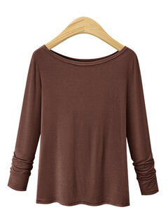 Crew Collar Long Sleeve Solid Color T-Shirts