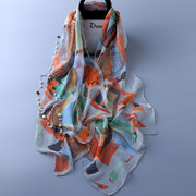 Women Nature Silk Soft Breathable UV protection windproof Abstract Pattern Scarf And Shawl