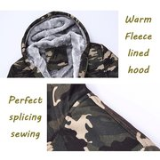 Mens Winter Thick Warm Extra Fleece Lined Army Green Camo Zip Up Casual Hoodies