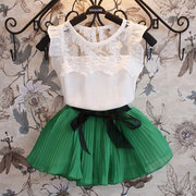 2Pcs Girl Kids Casual Clothing Sets Lace Top + Bow Skirt For 4Y-13Y