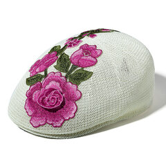 Womens Vintage Embroidery Cool Flower Cotton Blend Beret Cap Outdoor Travel Sun Hat