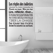 Toilet WC Stickers French Toilet Rules Adesivos de parede de vinil Mural Wall Art Wallpaper Home Decor