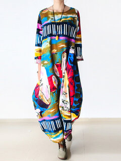 Abstract Printed Long Sleeve Loose Maxi Vintage Dresses