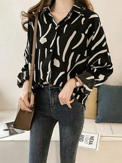Women Contrast Color Print Chiffon Turn-down Collar Long Sleeve Blouse