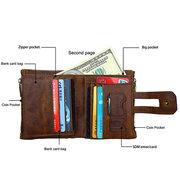 Portefeuille RFID Antimagnétique Vintage en Cuir Véritable avec 11 Fentes Cartes pour Homme