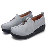 Chaussures décontractées à bout rond en cuir souple à lacets