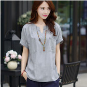 Solid Color Half Sleeve Cotton and linen Double pocket T-shirts