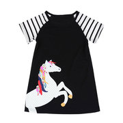 Horse Printed Girls Kids Short Sleeve Striped Dress For 2Y-11Y